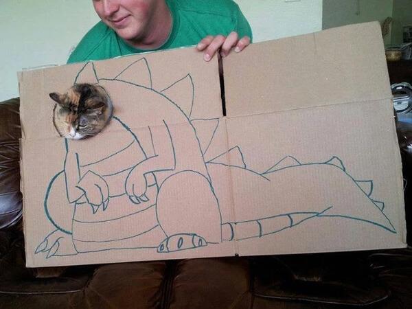 """10 Fotos hilárias de gatos que se """"transformaram"""" em dinossauro"""