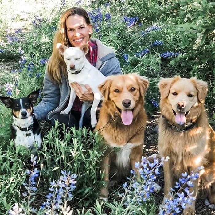 hilary swank com quatro cachorros